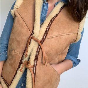 Sued Sherpa Vest Vintage Toe Front Aztec Unisex
